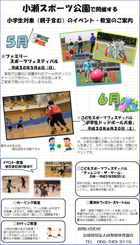 小瀬スポーツ公園で開催する小学生対象(親子含む)のイベント・教室のご案内